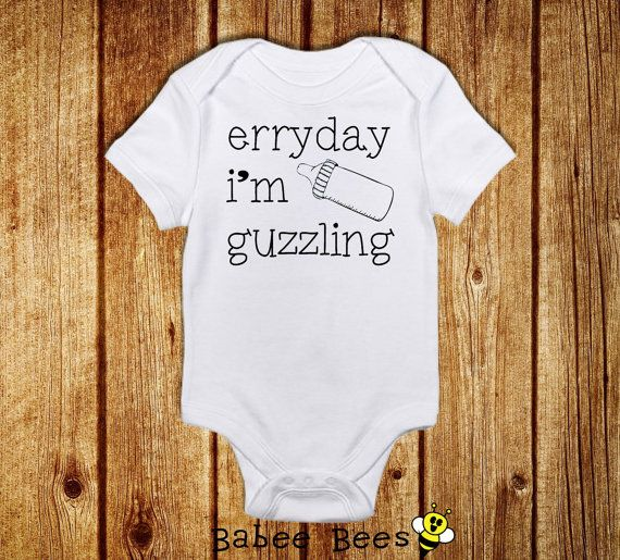 Everyday I'm Guzzling, Funny Baby Clothes, Baby Bodysuit, Hipster Baby Clothing, Gender Neutral Baby Gift, Baby Shower Gift, Custom Baby