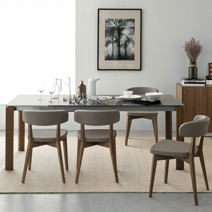 Eminence Extending Table by Connubia Calligais - Taupe Glass and Walnut Dining Table