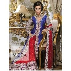 Valima or walima maroon blue bridal lacha lehenga with cystal stone work