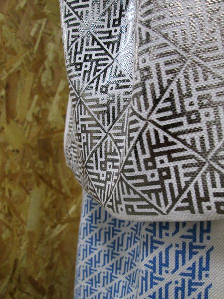 Lennon slim scarf - Handmade   Cotton   silver & blue