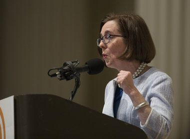Gov. Kate Brown drew on the early 1970s legacy of the late Tom McCall to argue that the political stagnation stymying governments elsewhere hasn't entirely waylaid Oregon since she took office.