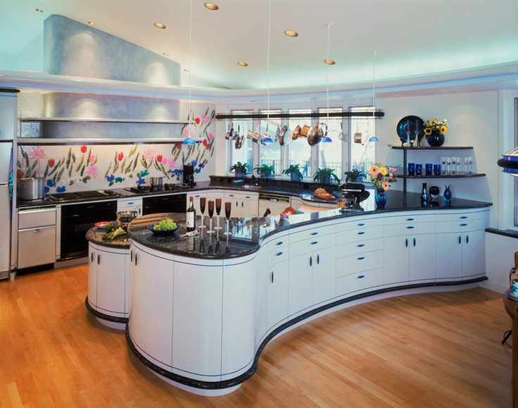 Exceptionnel This Modern Kitchen Remodel By Parrish Construction Is All About Curves!  Custom Glossy Blue Grey Cabinetry Contrasted With Cobalt Blue, ...