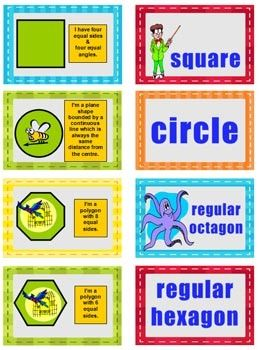 """""""2d Shape Game""""  is a fun activity for students to consolidate and review their knowledge of 2D shapes. It is perfect for revision and consolidation of the properties of regular 2d shapes and their geometric names. How to Play: In pairs the students shuffle the cards and place them in rows picture side down."""