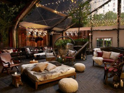 Hudson Hotel Rooftop in NY. During winter, they make it over into a cozy ski lodge.