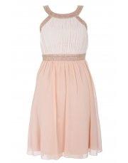 Peach And Cream Chiffon Dress