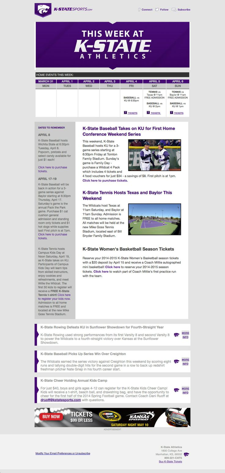 26 best college athletics newsletters gameday recap weekly. Black Bedroom Furniture Sets. Home Design Ideas