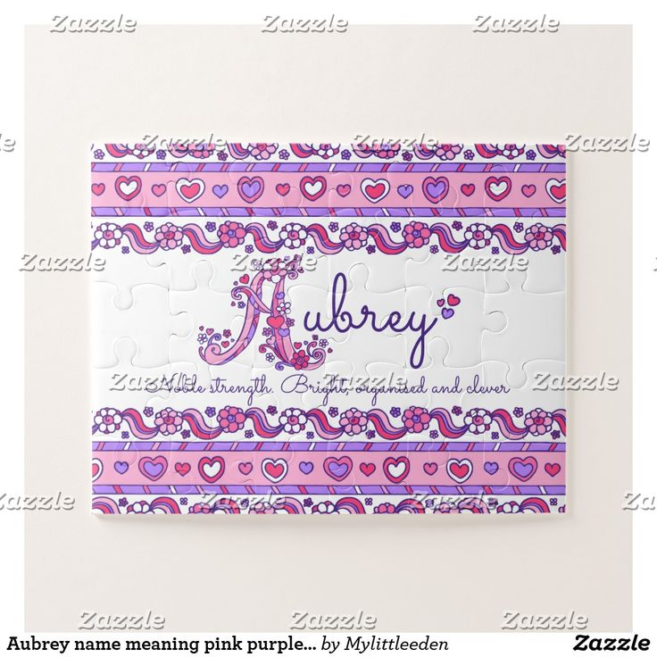 Aubrey name meaning pink purple jigsaw puzzle #aubrey #jigsaw