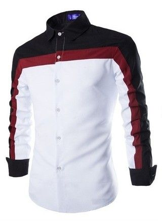 Camisa Casual Fashion Slim Fit en Tres Colores - Blanca / Negra, Azul, Negra y Blanca — CamisasMasculinas.com - Lo Mejor de la Moda Masculina