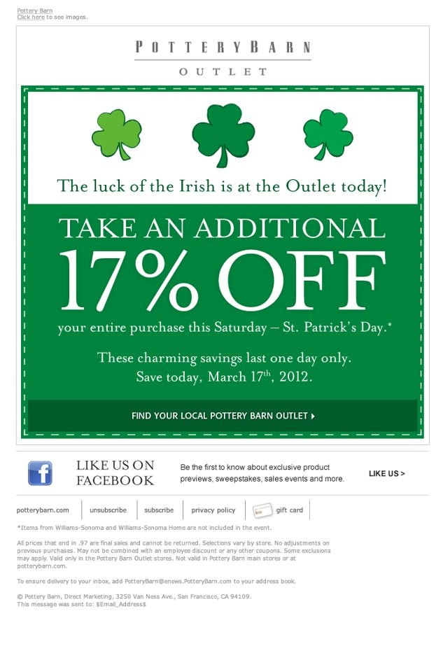 Pottery Barn Outlets 17 Off Printable Coupon Luck Of