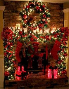 Christmas Lights and Decorations on Mantle.. reminds me of my parents house. Mom decorates so beautifully for Christmas.