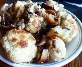 Roasted Cauliflower & 16 Roasted Cloves of Garlic-tonight for dinner with the chimichurri flank steak