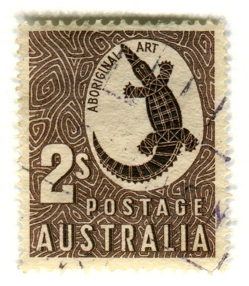 Australia Postage Stamp: Aboriginal Art    chttp://pinterest.com/search/?q=aboriginal+art#. 1948, part of the Zoological series    depicts aboriginal rock carving of a crocodile