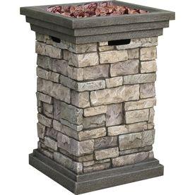 allen   roth�40,000-BTU 19.5-in Stone Design Composite Liquid Propane Fire Pit