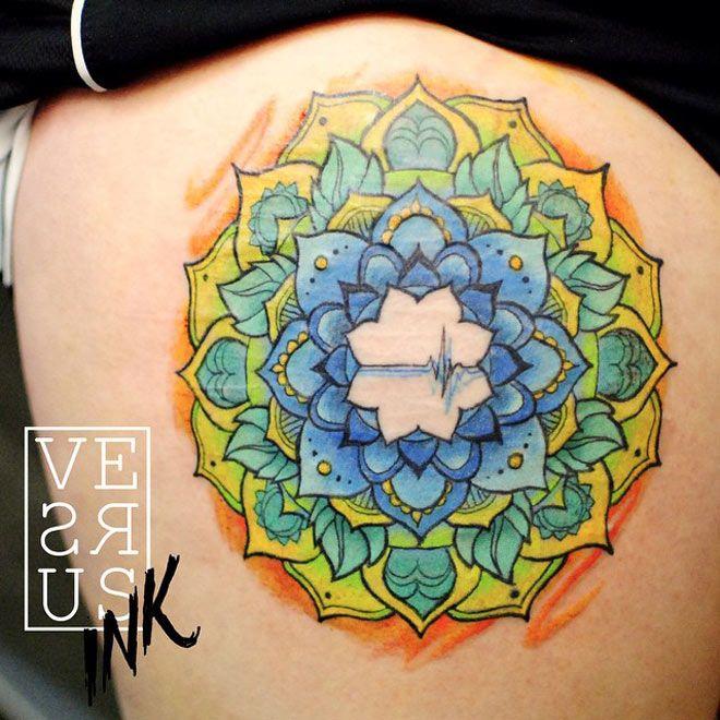 http://tattooideas247.com/colorful-mandala-thigh-tattoo/ Colorful Mandala Thigh…