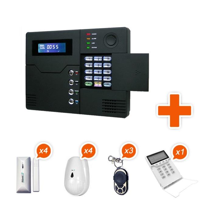 Alarme GSM sans fil Atlantic'S ST-V Kit 4 - contenu du pack : 1 centrale sans fil (ST-V) 4 détecteurs d'ouverture (MD-210R) 4 détecteurs de présence (MC-335R DMT) 3 porte-clefs télécommande (PB-433R) 1 clavier intérieur sans fil LCD (PB-502R) Batteries et kit de fixation inclus 2 autocollants (dont un pour portail)