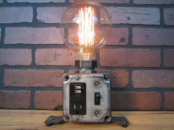 Industrial Desk Lamp - Industrial Phone Charger - Laptop Charger - USB Port - Steampunk Office Decor - Charging Station- Edison Bulb