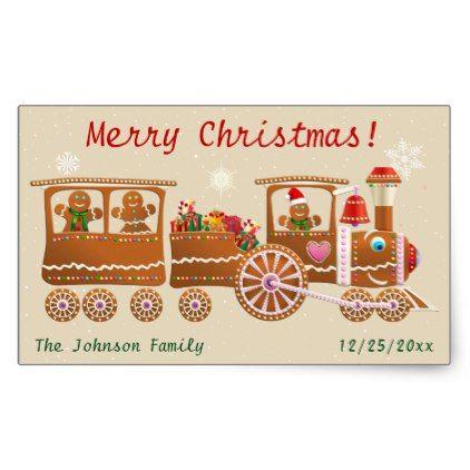 Gingerbread Cookies' Merry Christmas Train Cartoon Rectangular Sticker - Xmas ChristmasEve Christmas Eve Christmas merry xmas family kids gifts holidays Santa