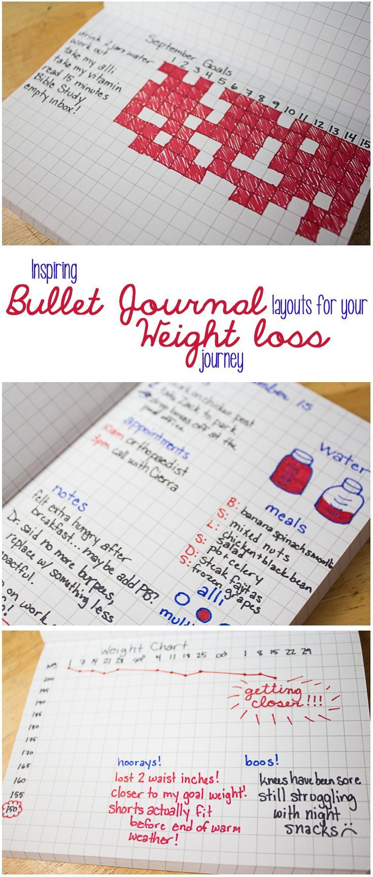 If you love bullet journaling and want to lose weight, here are some layout ideas to get you started on the right path! With a plan, a good bullet journal layout, proper diet and exercise, and a little boost from alli, you'll start seeing results! Plannin