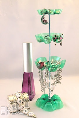 Jewelry Stand - made from plastic bottles.