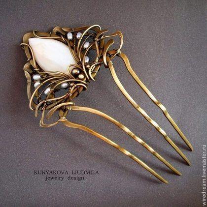 латунный гребень Лилия - шпильки для волос,шпилька,гребень,украшение для волос