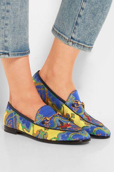 Gucci | Jordaan horsebit-detailed jacquard loafers | NET-A-PORTER.COM