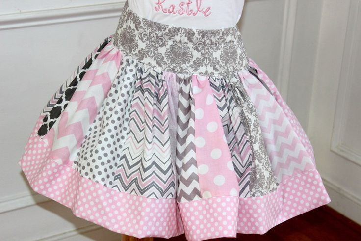 Excited to share the latest addition to my #etsy shop: girls skirt  skirts for girls toddler skirt pink and gray chevron skirt chevron outfit back to school fall clothing birthday damask