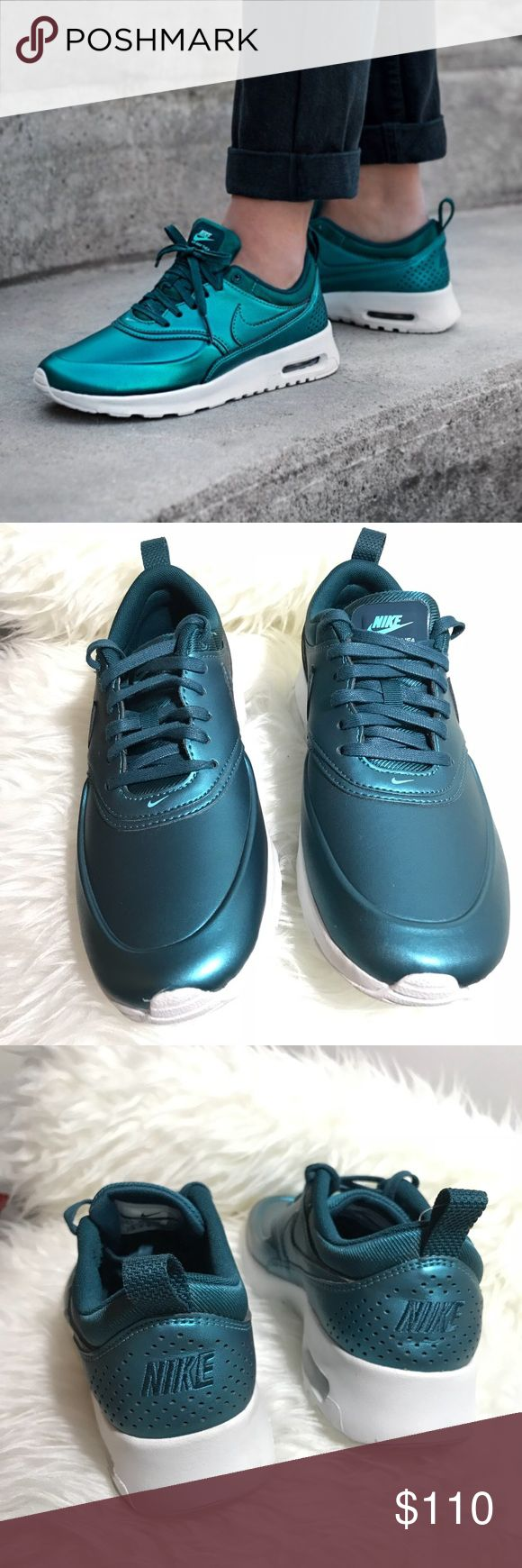 nike • air max thea in metallic dark sea green condition:  new without box, but has plastic tag. some light wear on sole from try on.  Perfect otherwise. retail: $130  * Nike Air Max Thea Special Edition sneaker in Metallic Dark Sea/ Summit White  Size 8.5 Metallic leather upper Air Max sole   NO TRADES  trusted seller for years • ships quickly great feedback • REASONABLE offers welcome Nike Shoes Sneakers