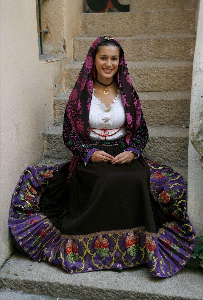 Italian  woman in traditional costume from Sardinia