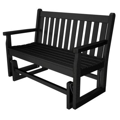 POLYWOOD® Traditional Recycled Plastic 48 in. Outdoor Glider Loveseat Black - TGG48BL