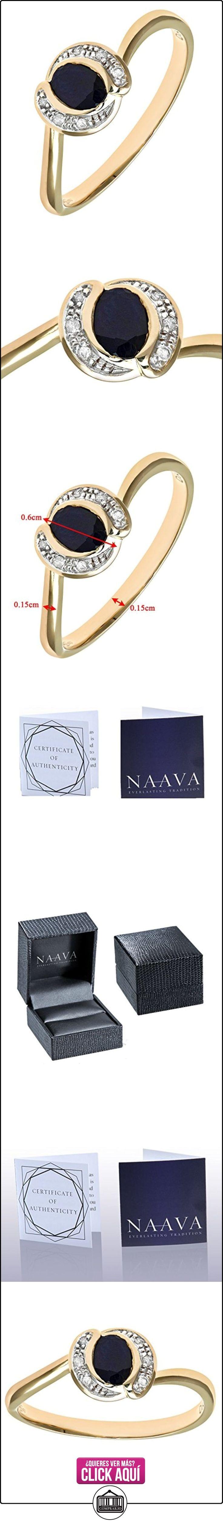Naava PR08989SA(P) - Anillo de mujer de oro amarillo (9k) con diamantes y zafiros (talla: 16.5)  ✿ Joyas para mujer - Las mejores ofertas ✿ ▬► Ver oferta: https://comprar.io/goto/B00403MEJI