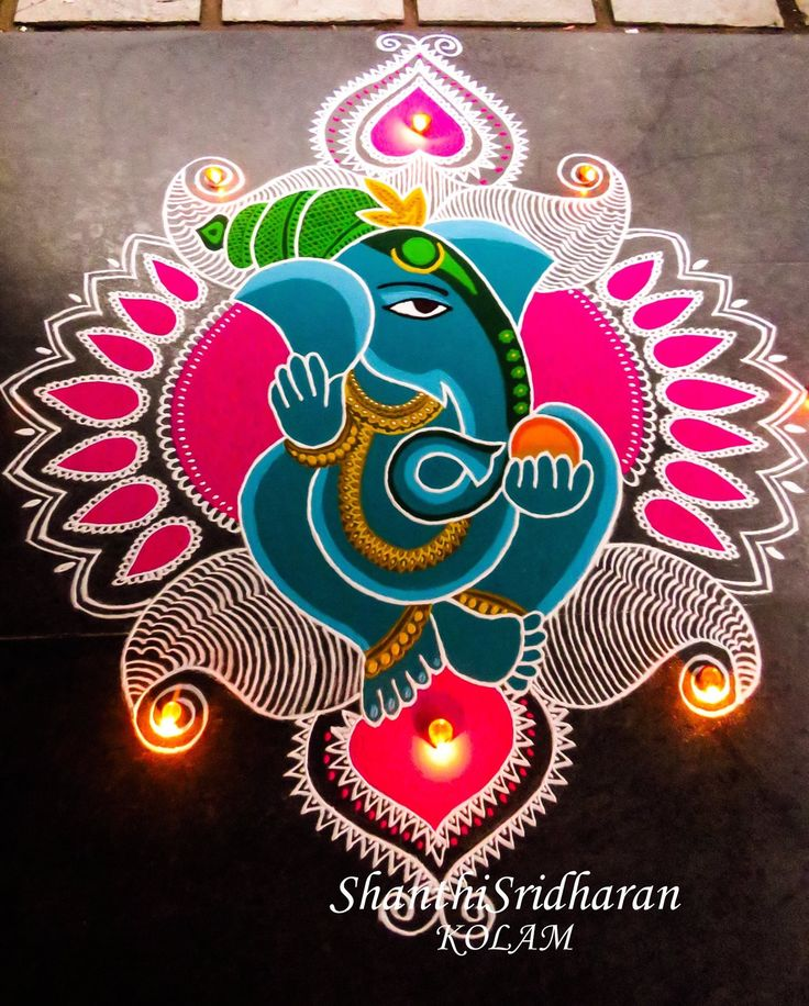 g #ganeshakolam #colourfulganesha #beautifulganesha #mandalaimage