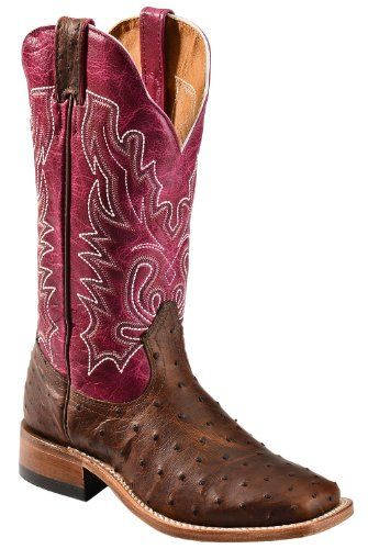 Boulet Women's Antique Full Quill Ostrich Cowgirl Boot Square Toe Antq Saddle US Full Grain Leather Construction. Exotic ostrich skin vamp. Fancy stitching adorns plum colored leather shaft.