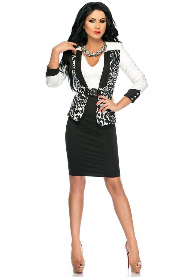 £: Completo giacca-vestito nero-bianco - inserti zebrati - COMPLETI & SPEZZATI - Abbigliamento » Moda Mania