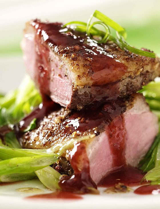 Duck and plum sauce is a classic - this crispy duck breast benefits from a fresh sweet & tangy plum star anise sauce.