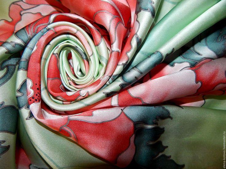 """Купить Платок батик """"Коралловые пионы"""" - мятный, цветочный, пионы, пионы батик, красные пионы"""