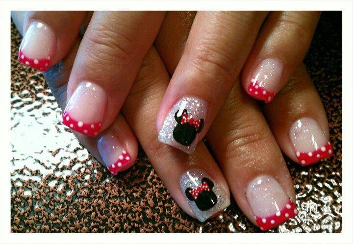 Light Elegance gel: Disney Minnie Mouse themed nails - Like the sparkles.