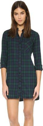 WAYF Flannel Shirt Dress - Shop for women's Shirt - Green Flannel Shirt