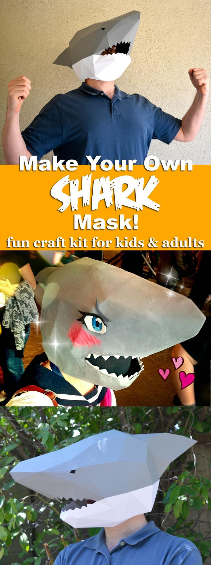Awesome shark mask kit turns you into a man-shark! Great papercraft project. So much fun!