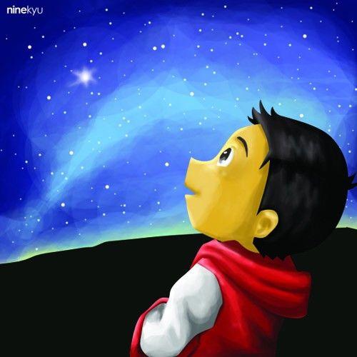 #night #sky #star #gazing #boy #illustration #ninekyu