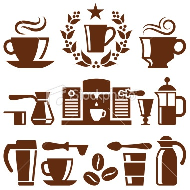 Coffee and Cafe vector icon set Royalty Free Stock Vector Art Illustration