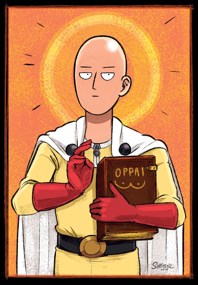 One Punch Man as a Byzantine-era Jesus painting.Hahah sorry, I don't even know. I was frustrated and studying for Art History and this just happened. You can get this as a sticker/shirt/poster if y...