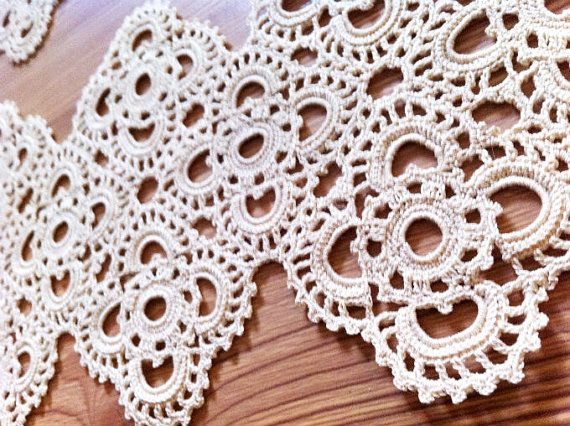 Crochet linen doily, ivory doily, crochet table runners set of 2