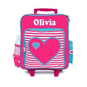 Our Trolley Suit Case is the perfect children's accessory. Great for small travels to and from kindergarten, pre-school, friends and even creche.  Features * Dimensions: 40cm H x 35cm W x 13cm D * Personalisation maximum 12 characters * Lift up handle * Zip opening * Side carry handle * Separate font pocket * Wheels and sturdy feet * Canvas PVC case with plastic and metal handle.