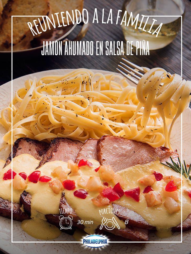 Prepara un delicioso Jamón ahumado en salsa de piña, ideal para toda la familia.  #recetas #quesophiladelphia #recetasnavideñas #jamónahumado #pasta #piña