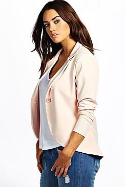 Boohoo: Plus Astrella One Button Ponte Blazer