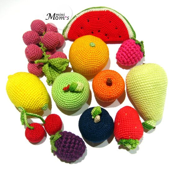 12 Pcs  Crochet  Fruit teether teeth play food kitchen от MiniMoms, $57.00