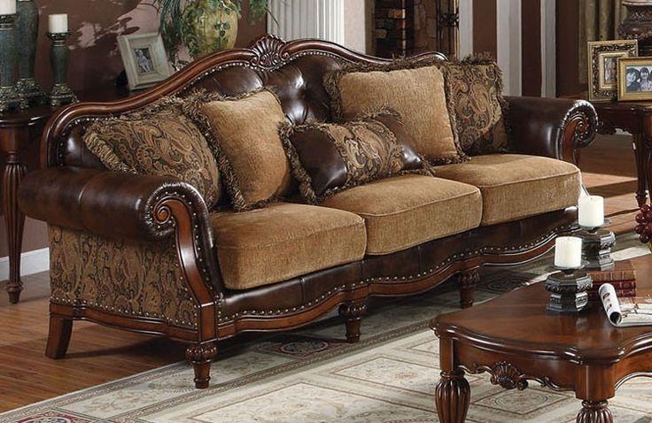 Dreena Chenille Fabric Victorian Sofa Sofas