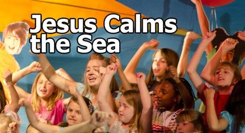 A fun and interactive version of the story of how Jesus calms the sea. #kidmin