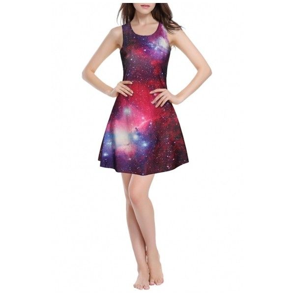 Red Galaxy Print A-Line Mini Round Neck Slim Dress ($23) ❤ liked on Polyvore featuring dresses, short dresses, short mini dress, short white dresses, a line dresses and white mini dress