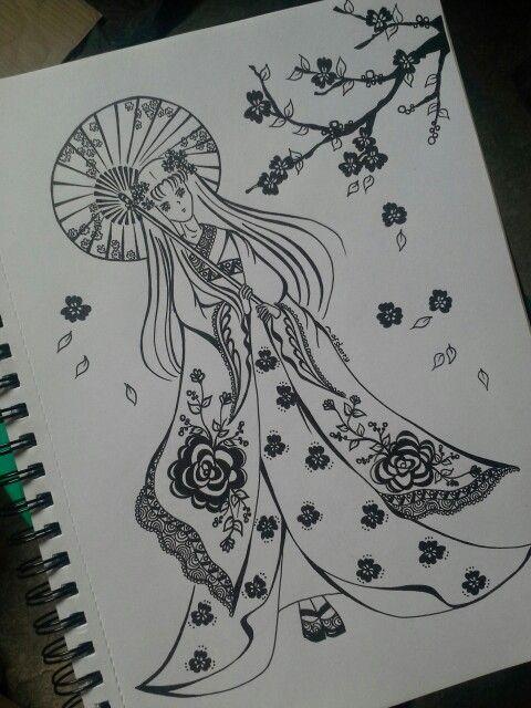 Geisha girl,  Waiting with an umbrella